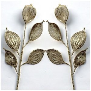 "26"" Gold Glittered Leaf Christmas Stem 2 PC. NWT"